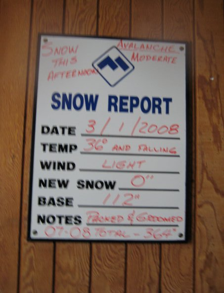 Snow Report from the hotel