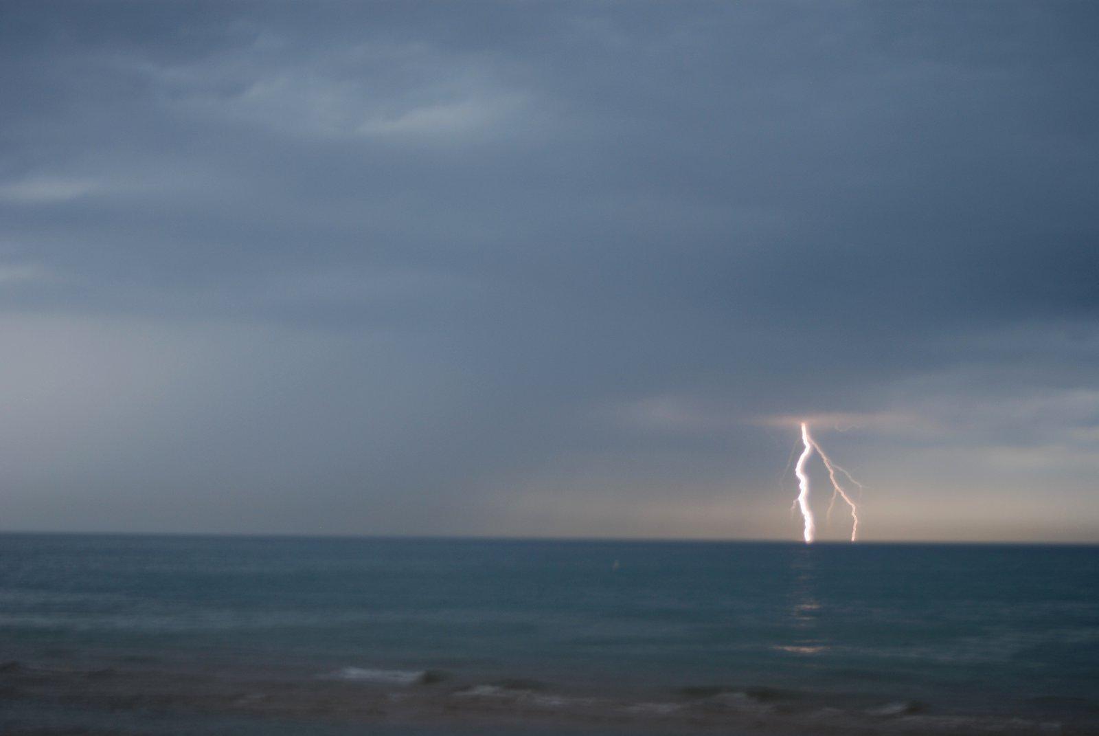 Lightning over lake michigan