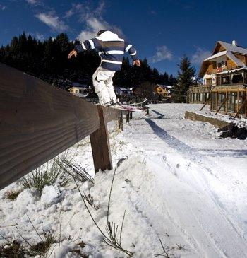 Grinding a wooden rail