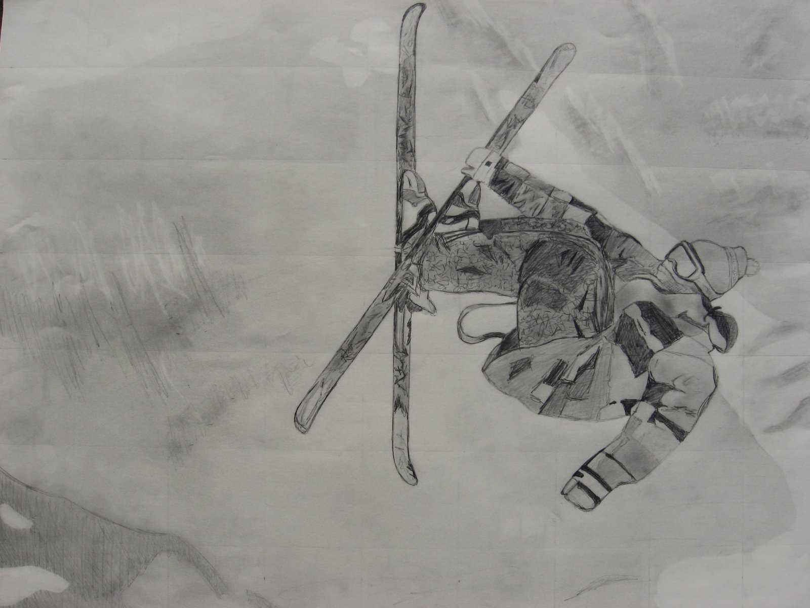 Drawing of a skier