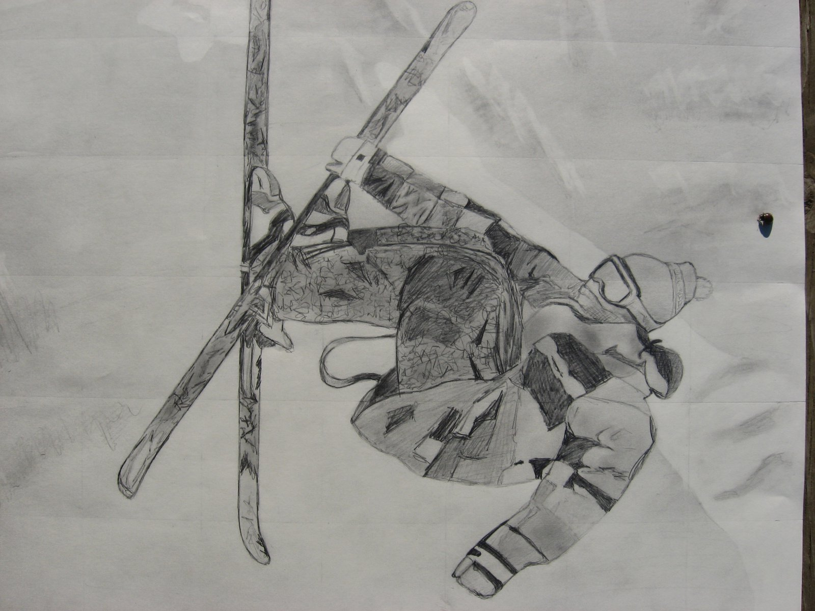 Closer up of Skier drawing