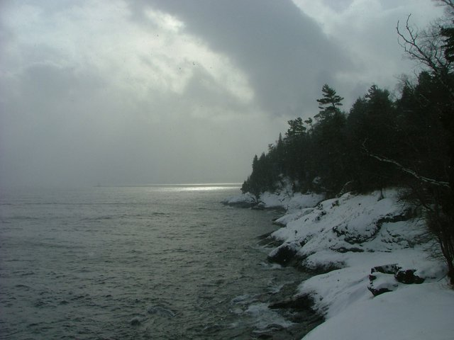 Winter storm over Presque Isle