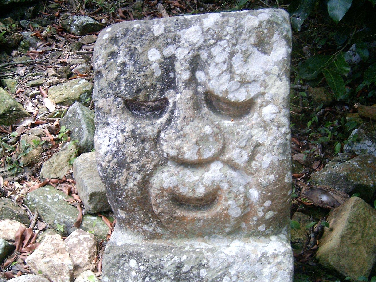 Stone head, copan, honduras