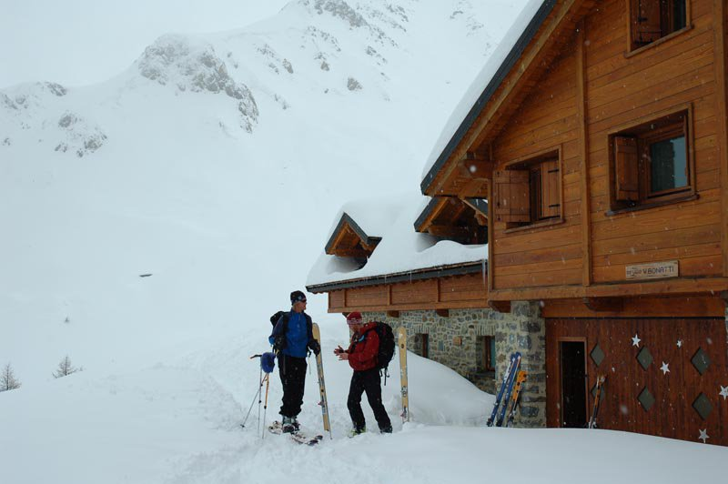 Outside the Bonatti hut