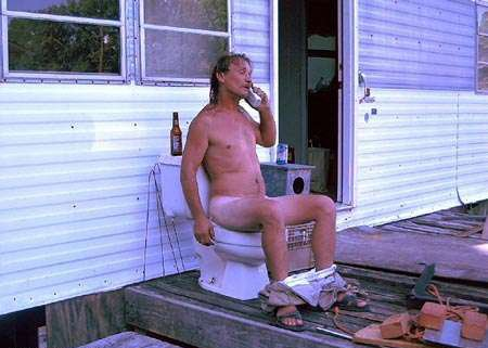 Dad Saggory Takeing A Dump In The Out Siide Bathroom