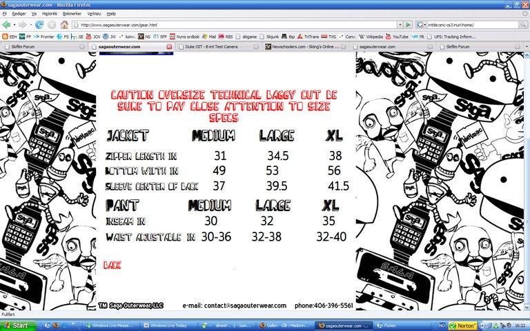 Saga sizing chart