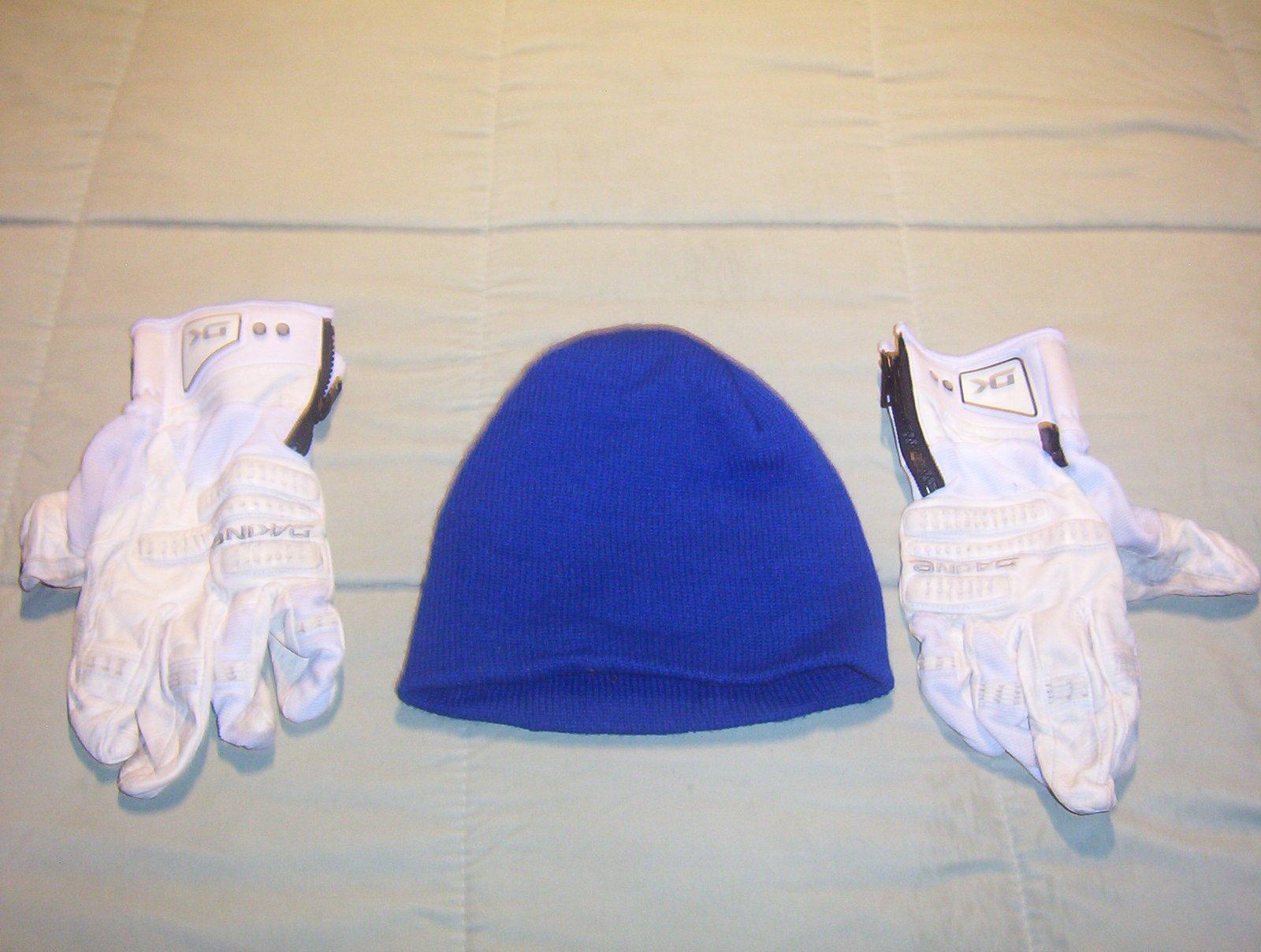 Dakine Gloves and Blue Beanie