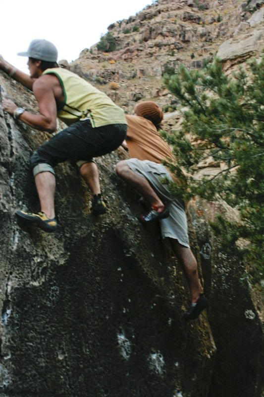 Dre an Rocky climb
