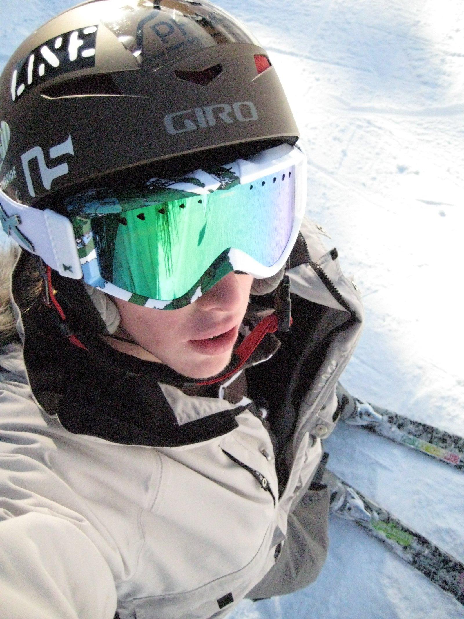 Above angle on skis