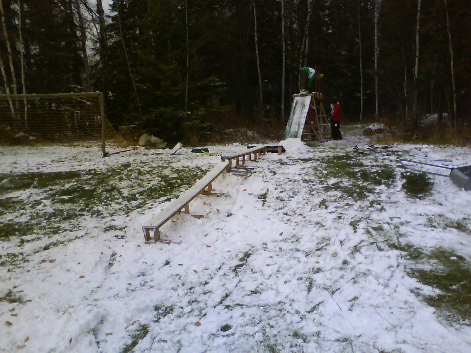Rail we set up with natural snow fall
