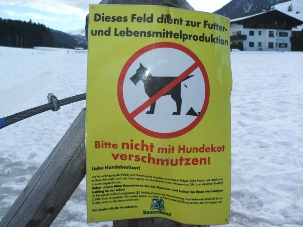 Anti Dog Poop sign in Austria