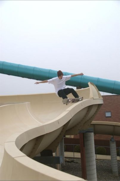 Nicholson frontside grind in a waterslide