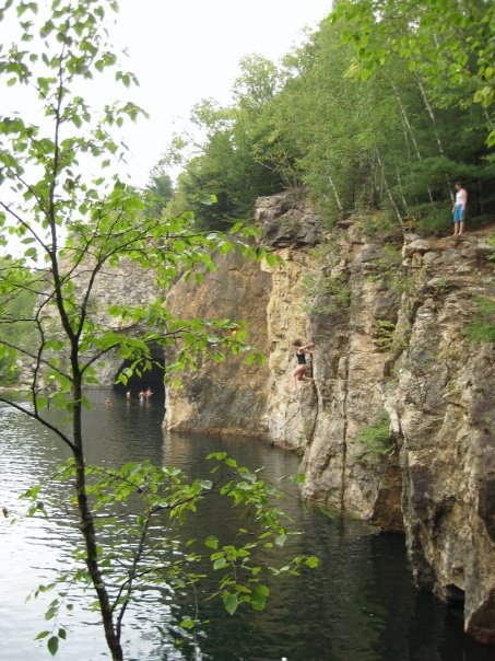 Cliff jumping at a quarry