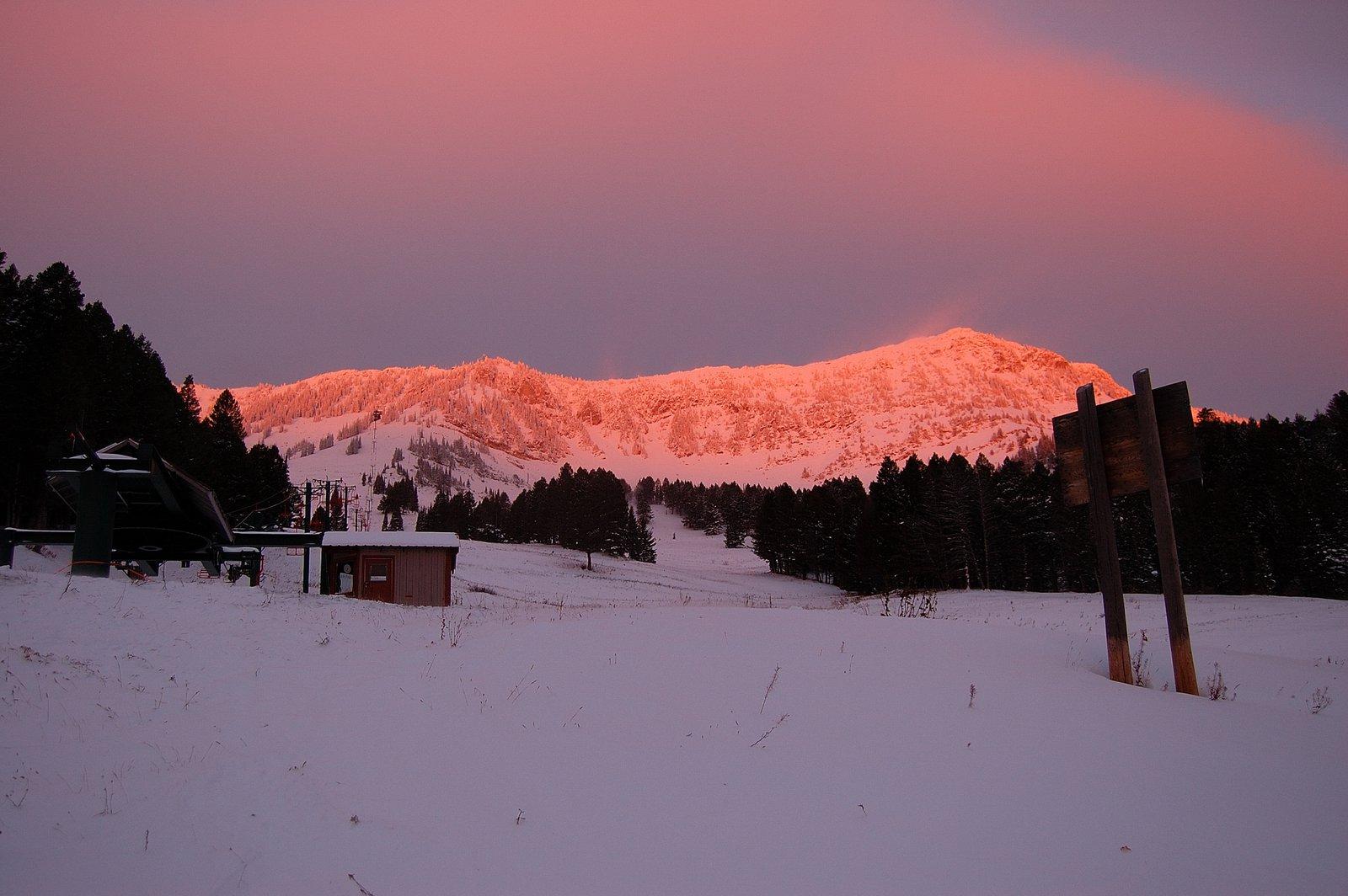 Bridger bowl sunrise. October 13th 4 am hike to the ridge to catch sunrise and slay