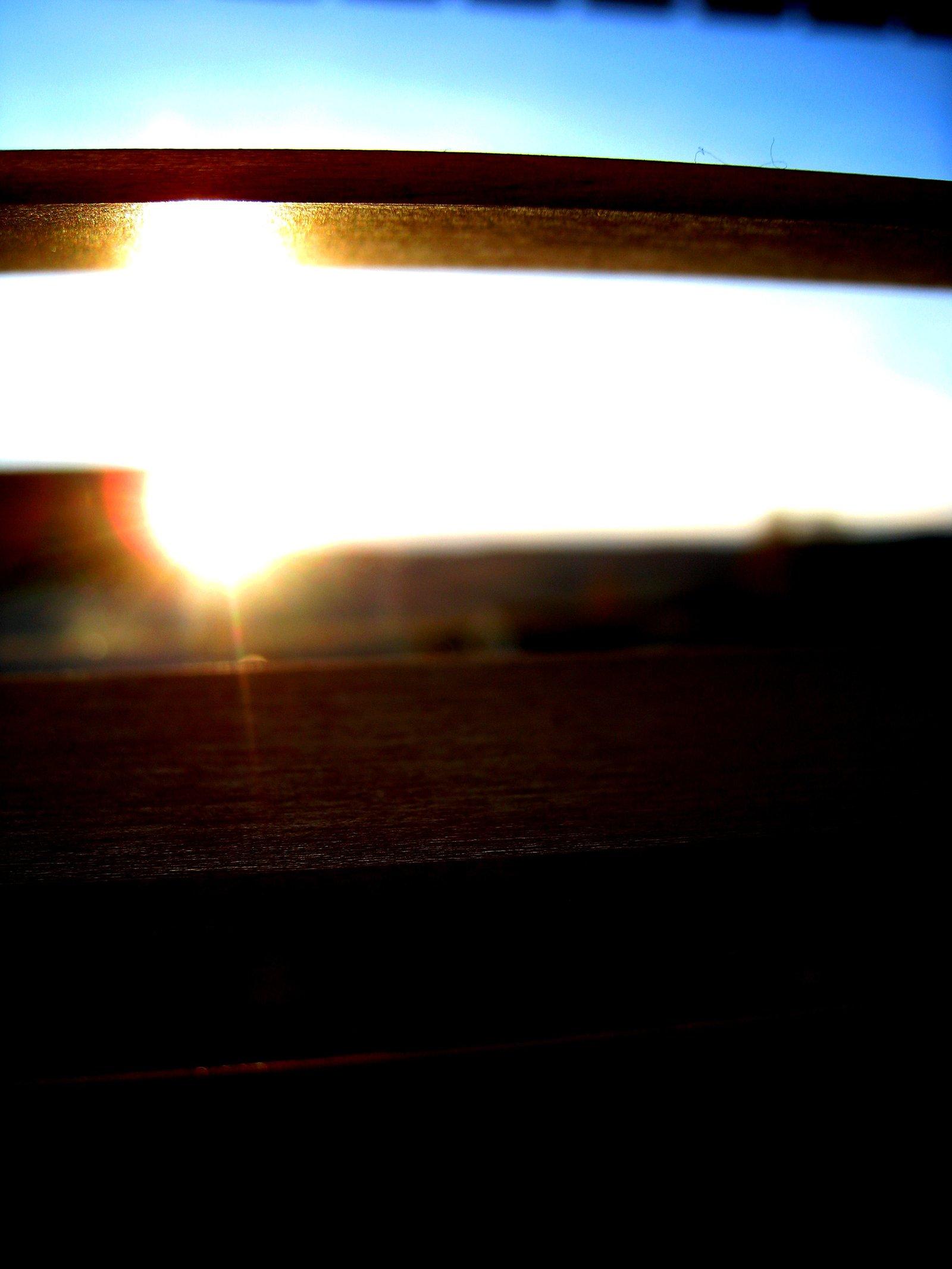 Sunset through window