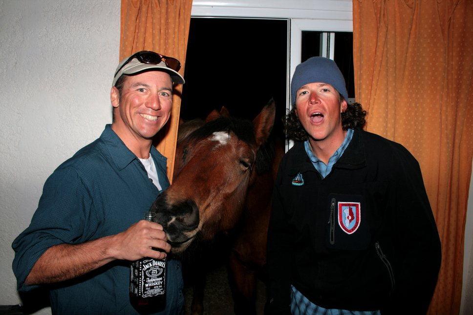 Doug and Mike get friendly with a horse