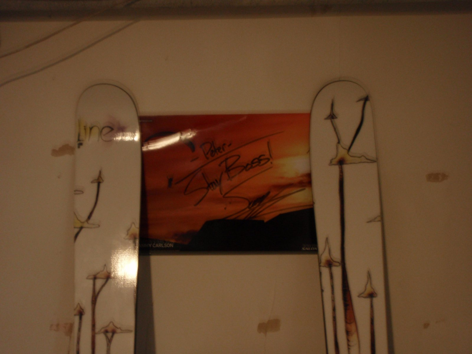 Skis and poster