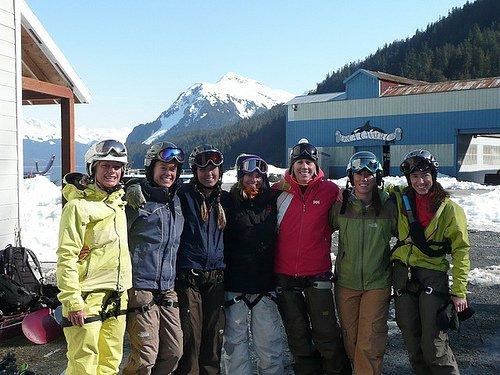 The girls on a ski trip
