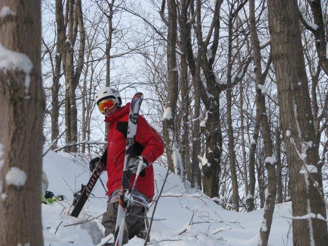 Pow skiing