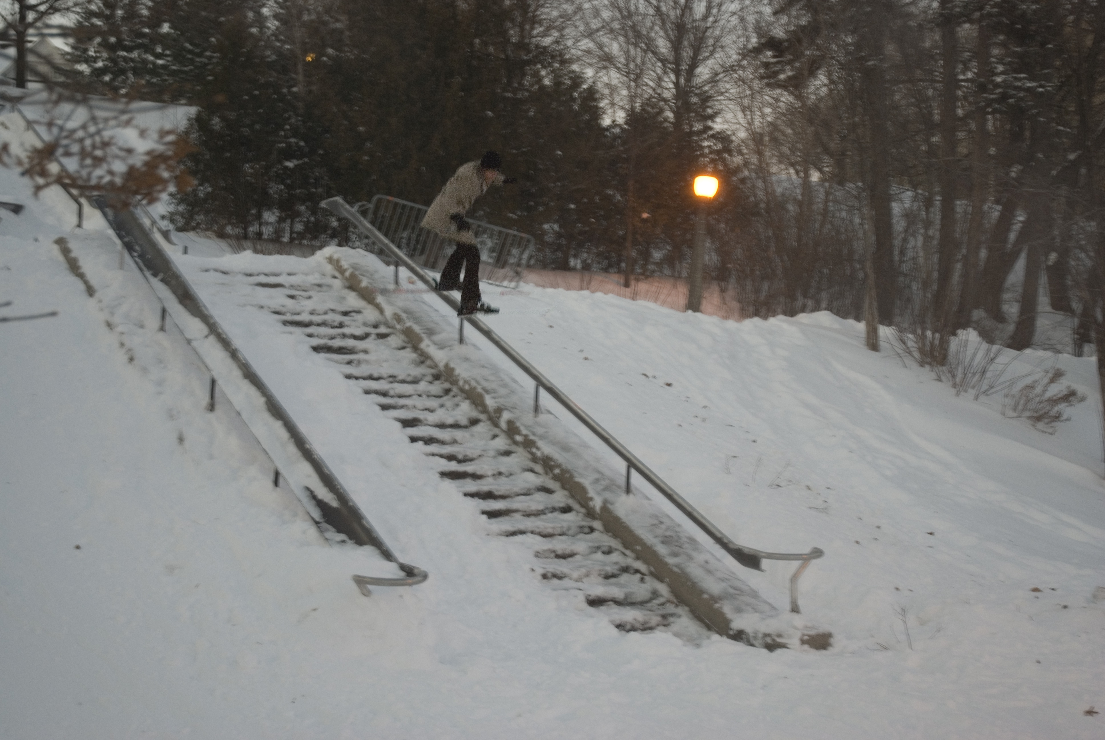 Pavel goes to a railing