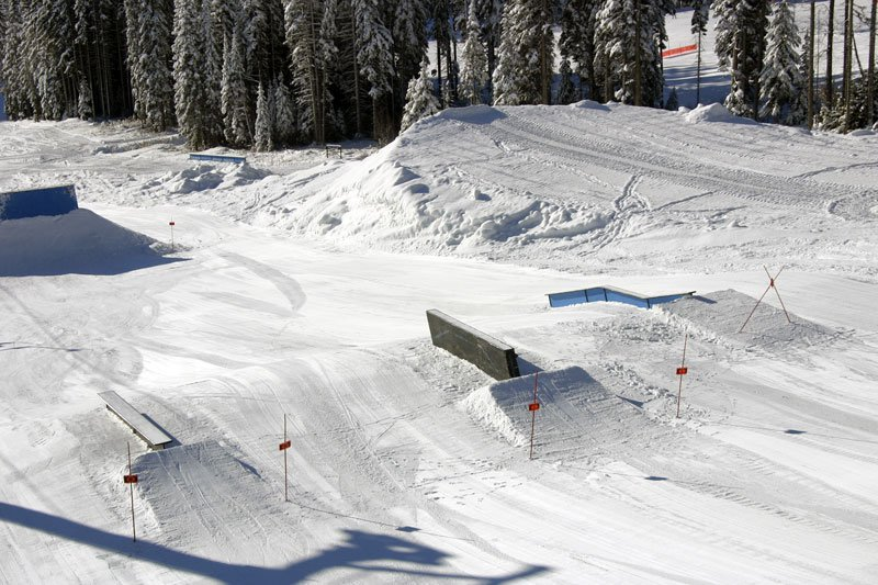 Lower half of the intermediate terrain park.