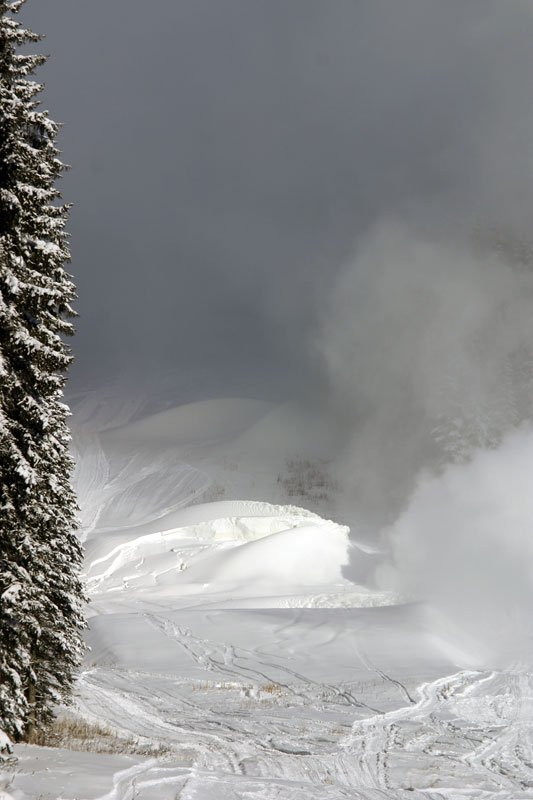 Making snow in the advanced terrain park.