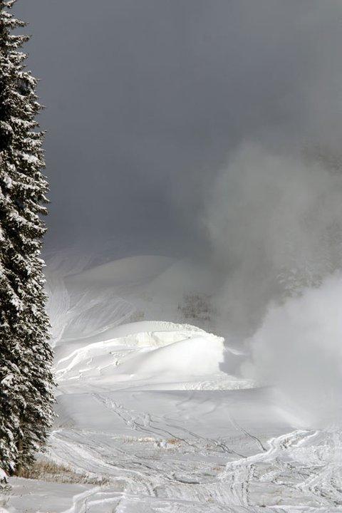 Making snow in the advanced terrain park.