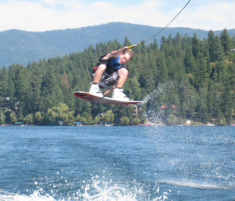 Wakeboarding on hayden lake