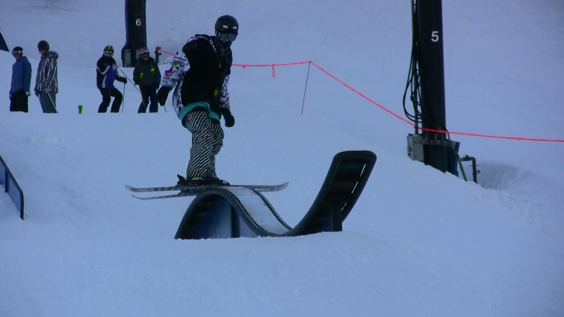 Video still: Dillion on the rollercoaster rail