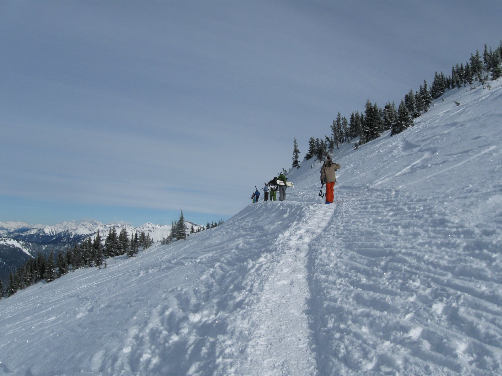 Boot pack up over the ridge at revelstoke