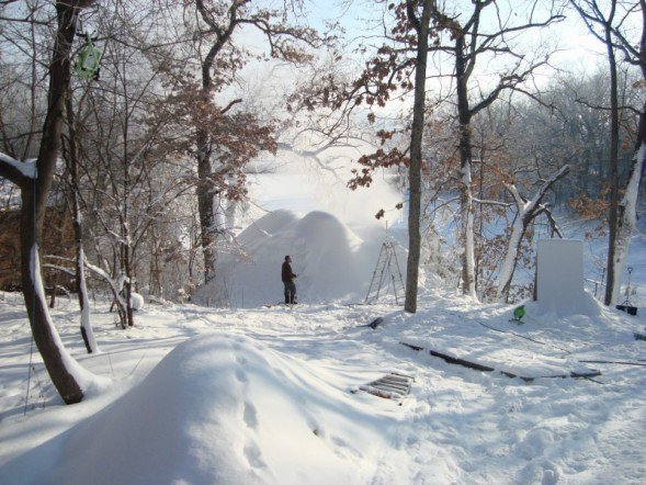 Making snow for backyard quarterpipe