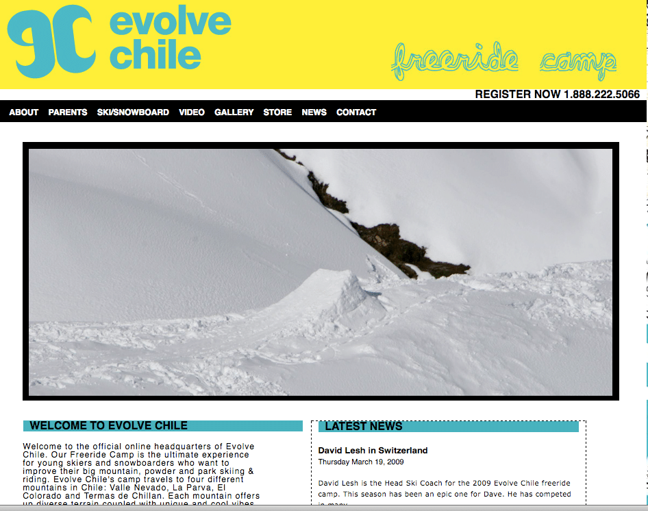 Evolve Chile Drops '09 Site