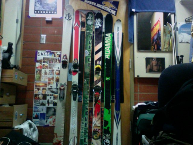 The skis i have in my dorm room