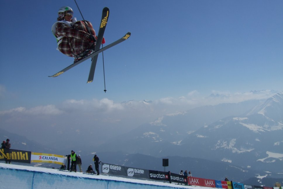 In the pipe at European Freeski Open, Laax, Switzerland