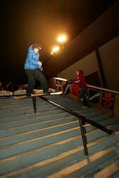 I snowboard down rails...2004