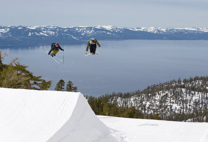 3 nose grab with lake tahoe in the back