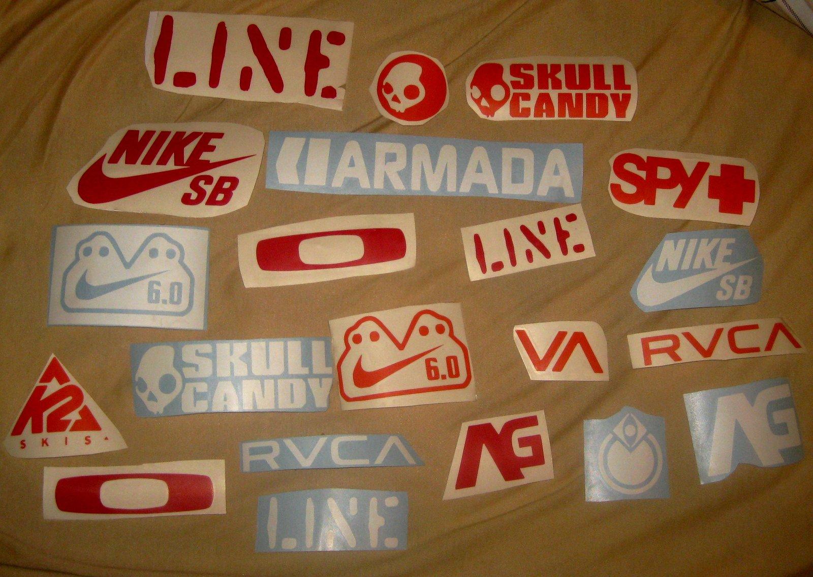 Ski stickers and die cut decals
