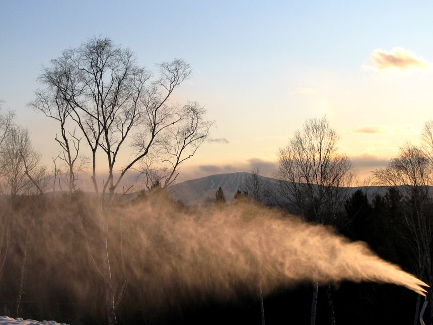 Sunset Snow Making