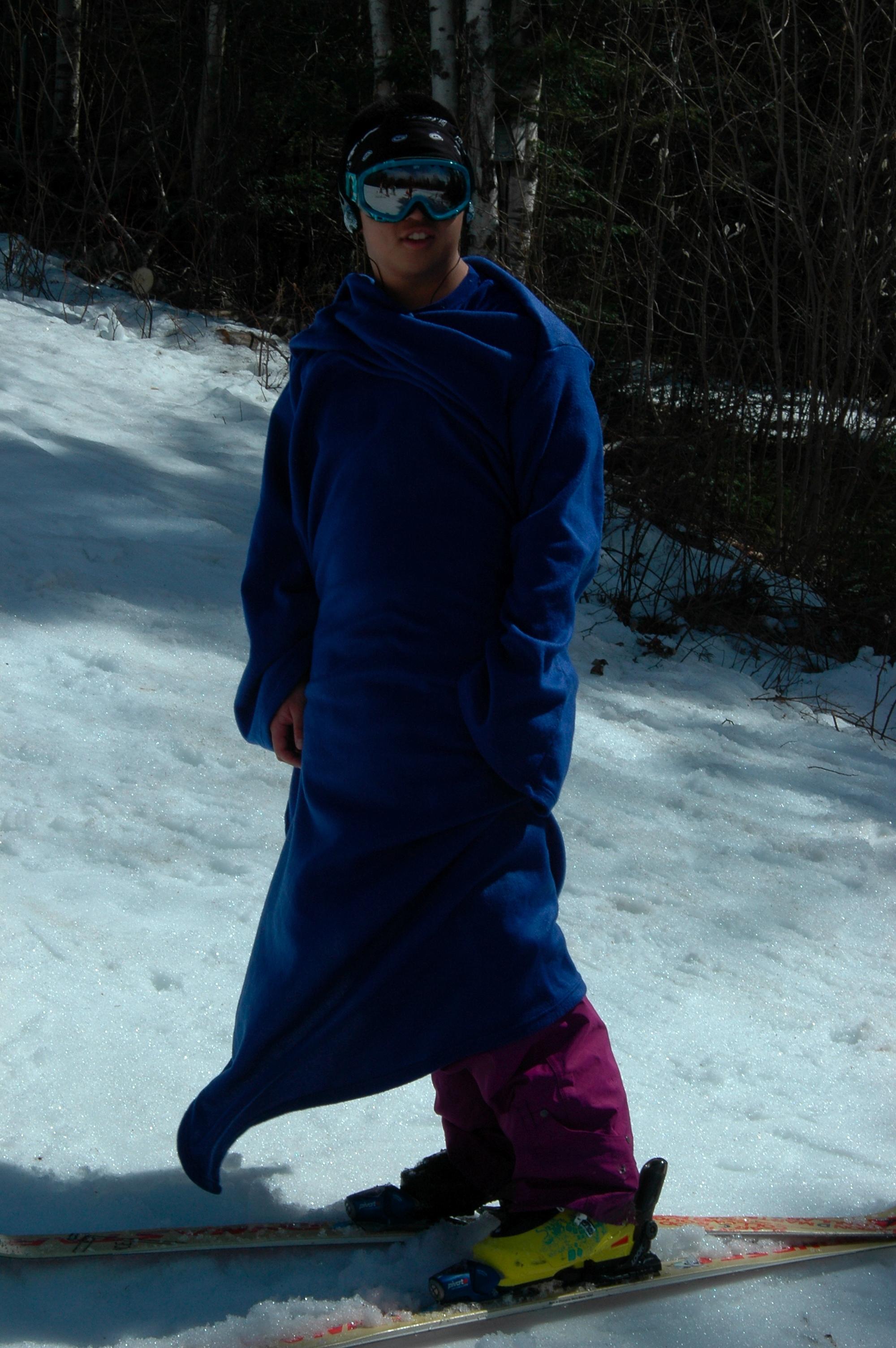 Skiing in a Snuggie