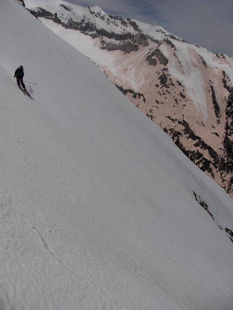 Skiing down Crystal Peak