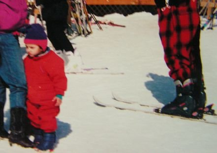 Watching my sister ski as a babe