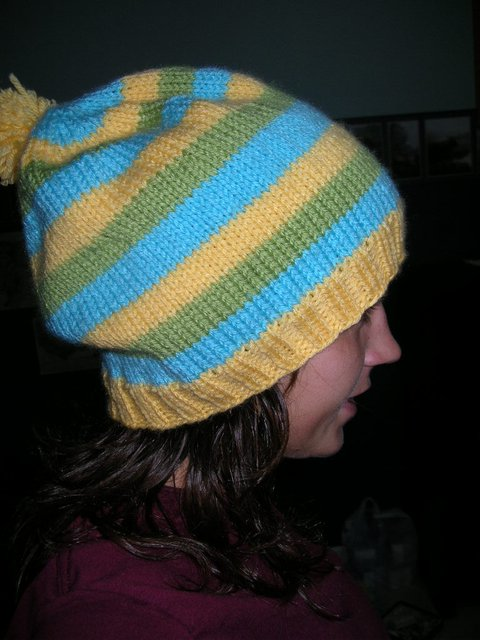 Yellow blue and green striped hat