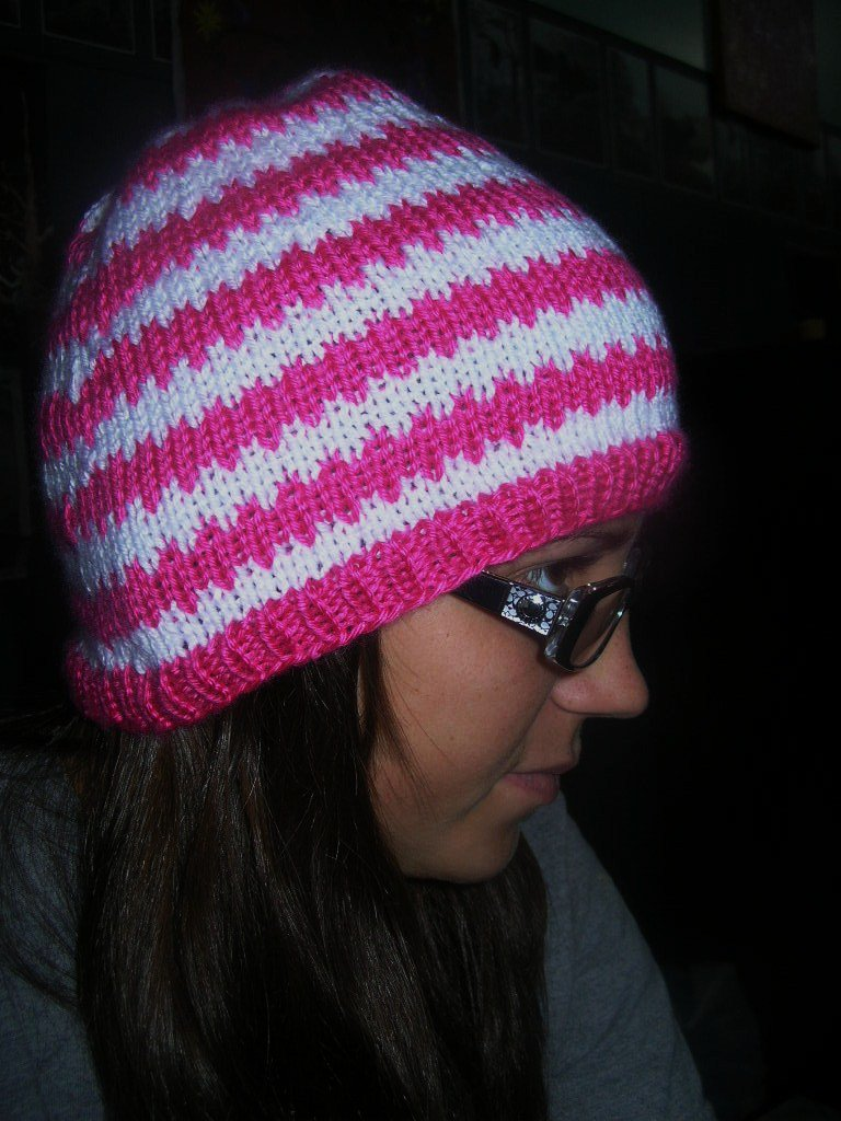 Pink and white hat!
