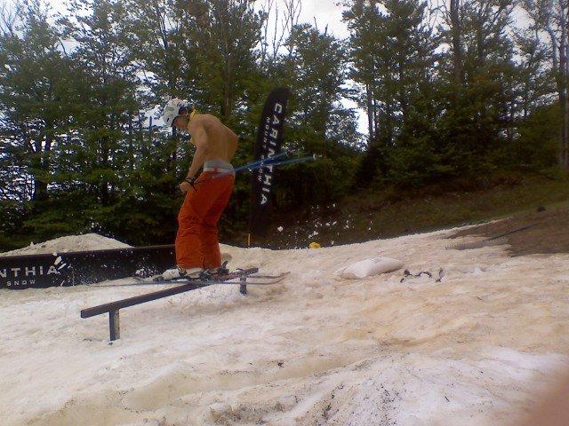 Slidin a rail shirtless..booyeah!