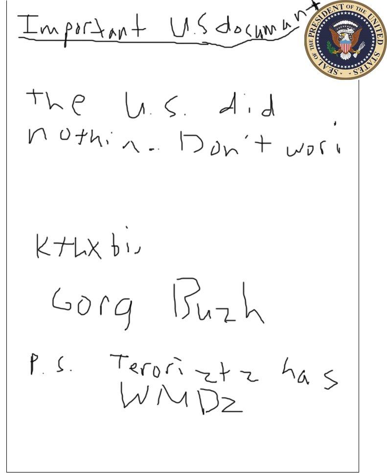 Presidential note.