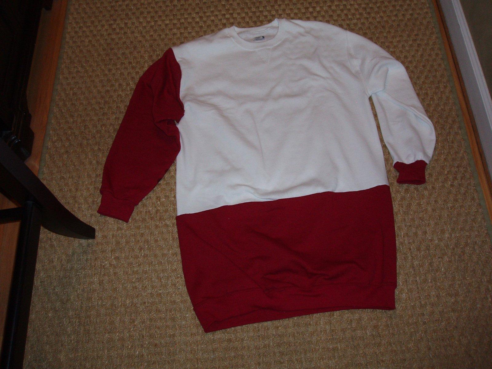 Red and white sweatshirt 1