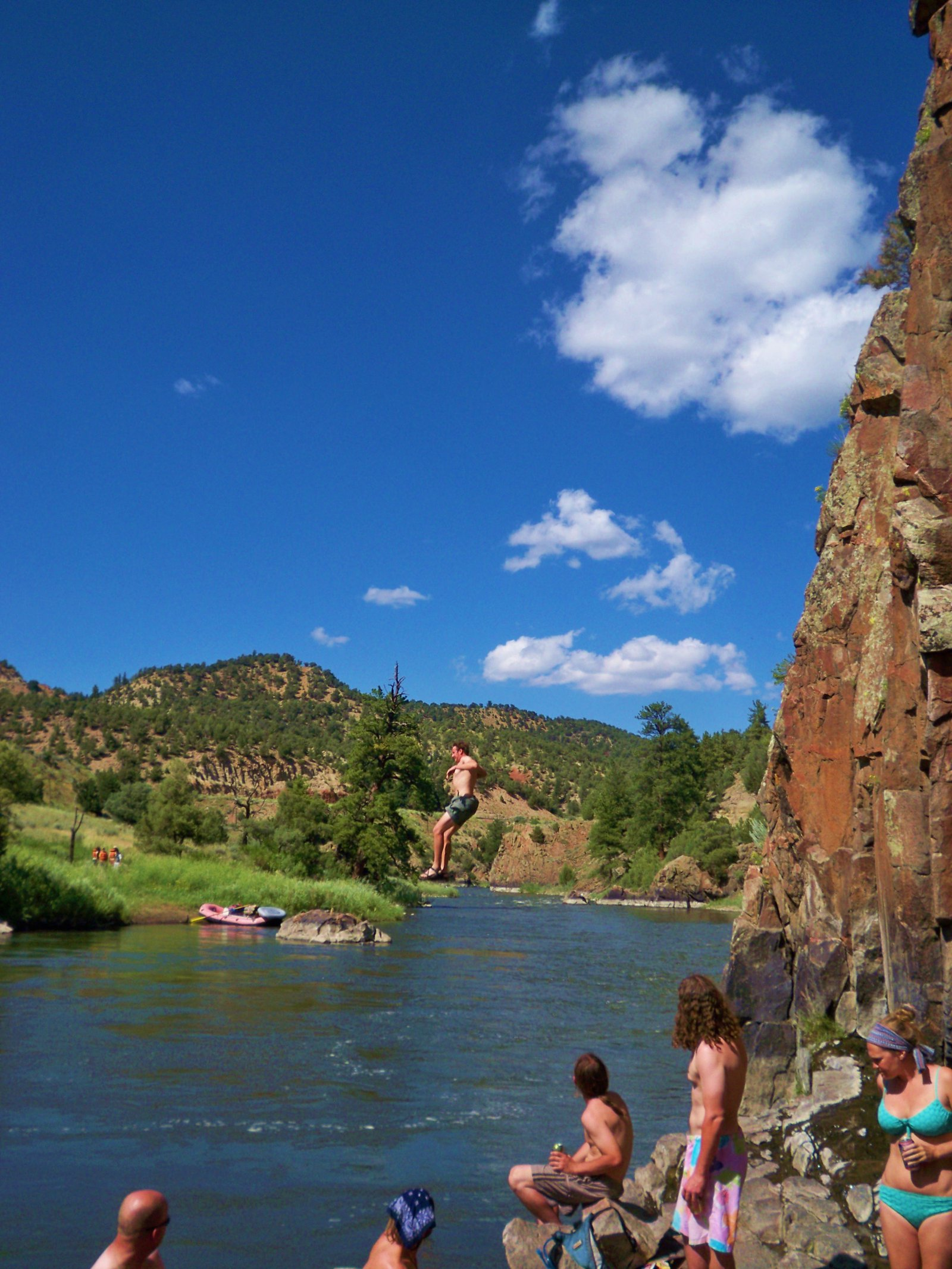 Cliff jumping  on a beautiful day