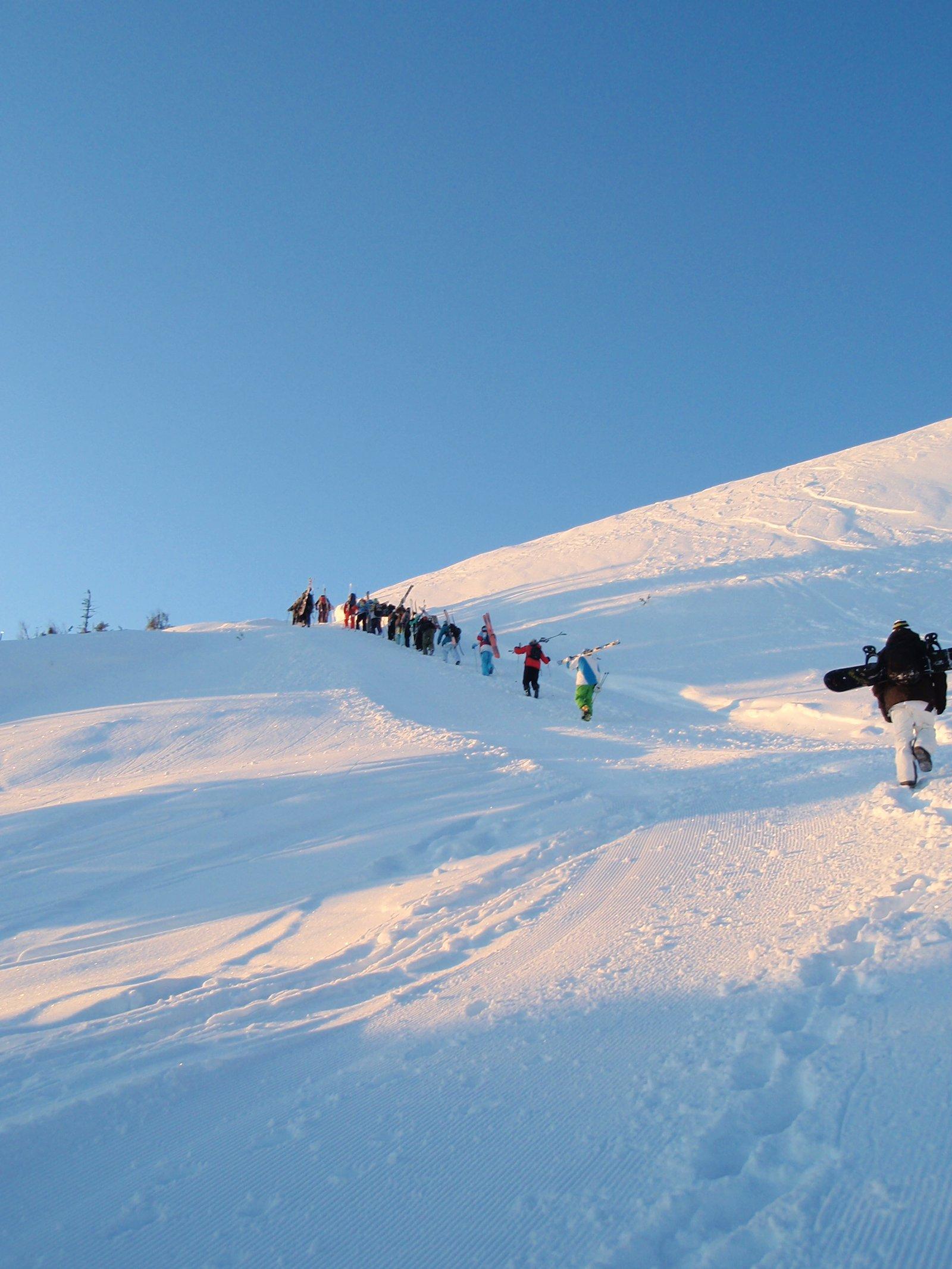 Hiking the mountain