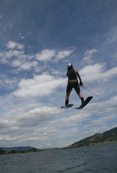 Some jump waterskiing.