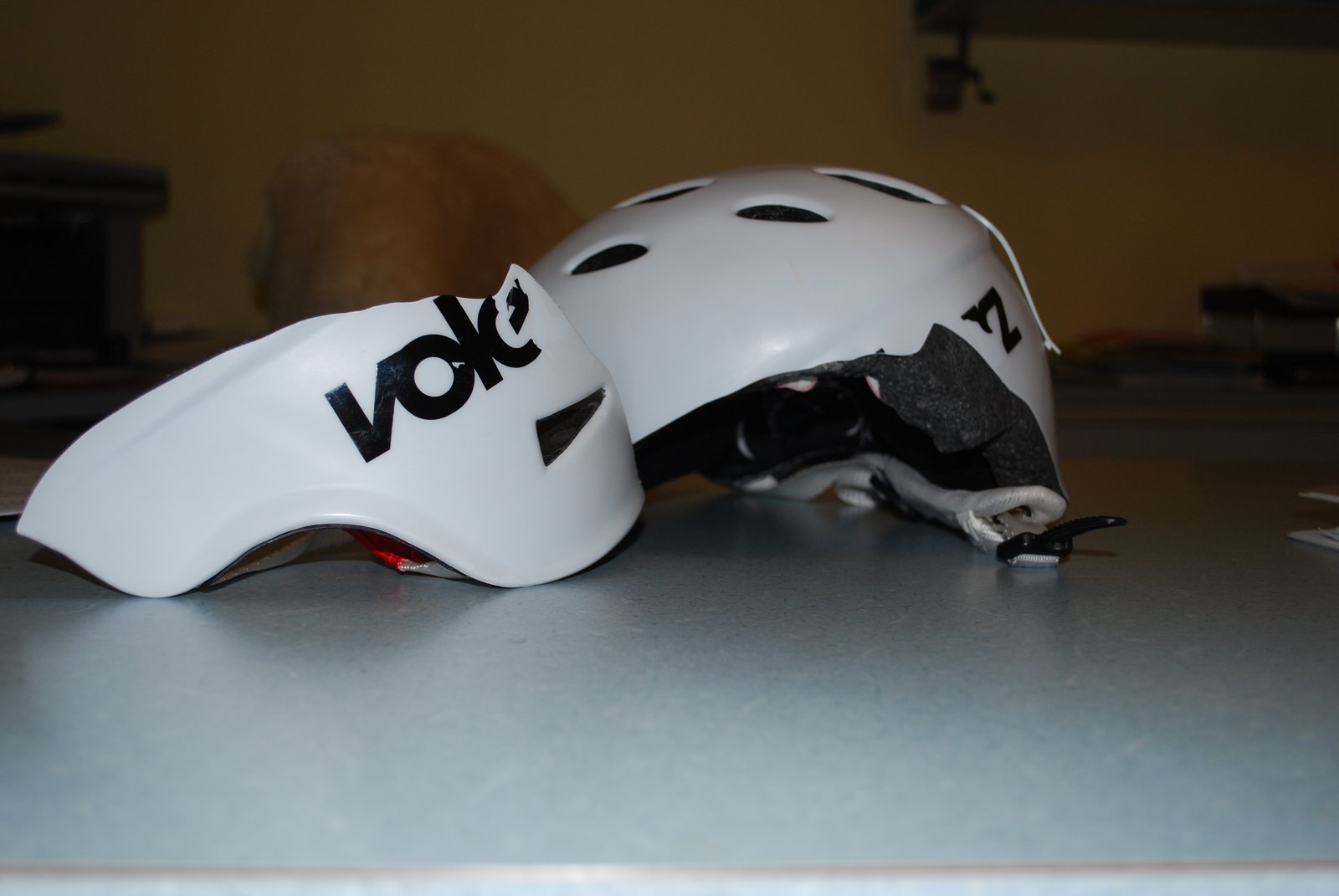 Broken helmet from crash